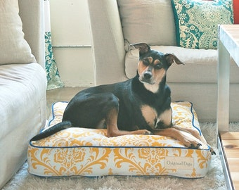 Traditional Yellow Dog Bed // Pet Beds // Fashion Forward Dog Beds // Indoor Pet Bed // Designer Dog Bed // Small/Medium/Large