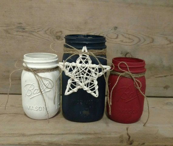 May The Fourth Be With You Wedding Favors: 4th Of July Decorations Painted Mason Jar 4th Of July Decor