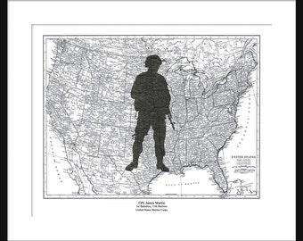 Marine - Personalized Gift - US Marine Corp - Custom Print - Poster - US Map - Gift Print