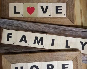 """Family """"Scrabble""""type wooden tiles in Frame"""
