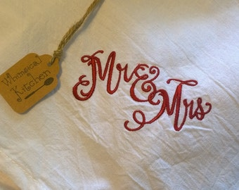 Mr and Mrs Wedding Gift Tea Towel PREMIUM