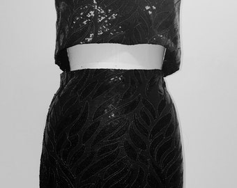 Sequin Knit Bandeau Top and Sequin Knit Pencil Skirt