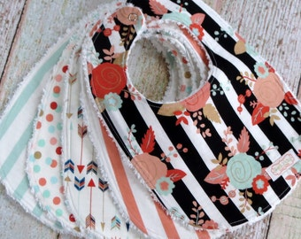 Baby Bibs - Baby Girl Bibs - Mix and Match Bib Set - Chenille Bibs - Arrow Bib - Flower Bib - Polka Dot Bib - Striped Bib - Baby Shower Gift