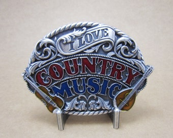 I Love Country Music Western Metal Fashion Belt Buckle