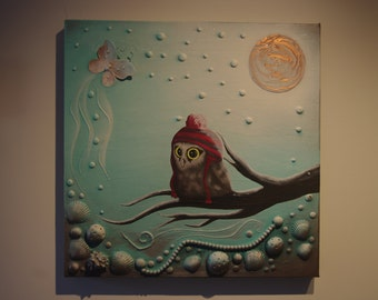 Baby Owl Original Painting Briege. Co Design Reproduction - 320.00