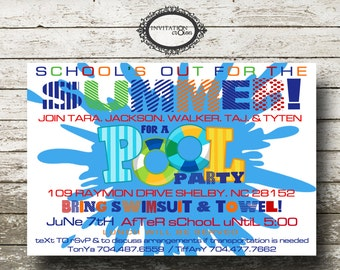 School's Out Swim Pool Party Girl and Boy Birthday Party Invitation Digital Download File