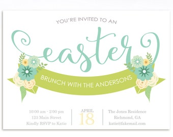Easter Invitation, Easter Brunch Invitation, Easter Egg Hunt Invitation, Printable Invitation, Easter Birthday Invitation, Pale Green