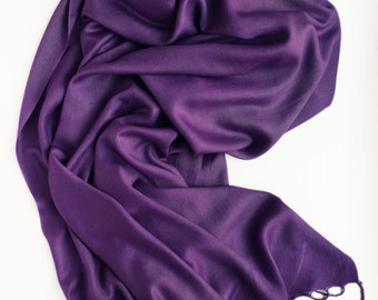 Violet long scarf,  pashmina scarf, lightweight scarf, scarf with a matte sheen,  plain violet scarf, gift for women