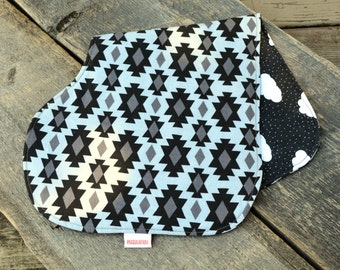 Baby burp cloth, aztec and clouds