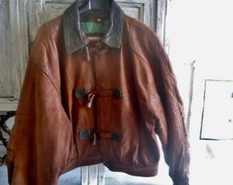 "Men leather jacket ""Powerhouse"",camel Leather jacket  vintage 90's,  Size XL"