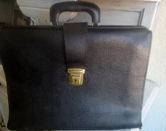 Antique Leather SATCHEL, Black satchel 60's,French briefcase