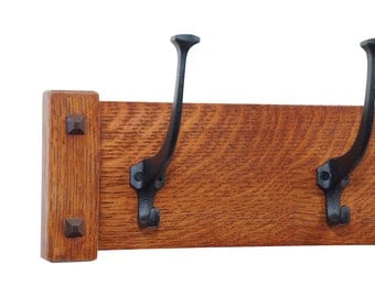 """30"""" Mission Craftsman Wall Coat Rack with 5 Cast Iron Hooks"""