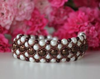 Beaded wedding bracelet. Beaded beadwork bracelet. Shiny brown and nacreous white Seherezade bracelet.