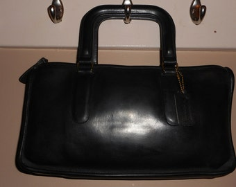 "COACH BONNIE CASHIN 13"" x 7"" Black Leather Tote Bag #514-4337 New York City Hang Tag"