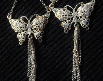 Large Butterfly Dangle Fish Hook Silver Tone Crystal Earrings