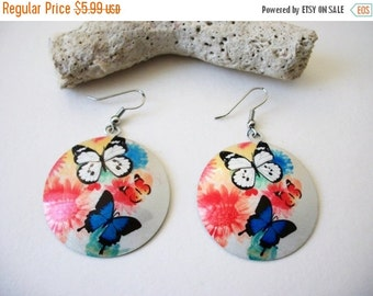 ON SALE Vintage 1960s  Colorful Butterflies Disc Earrings 61916