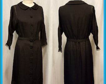 Amazing Black 1930's 1940's Dress with So Many Fantastic Extras!!!  Special Stitching ~ So Amazing!!!