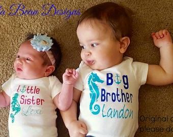 Sibling sets, under the sea, mermaid, Big Brother, Little Sister or Little Brother Big sister, seahorse and mermaids, nautical