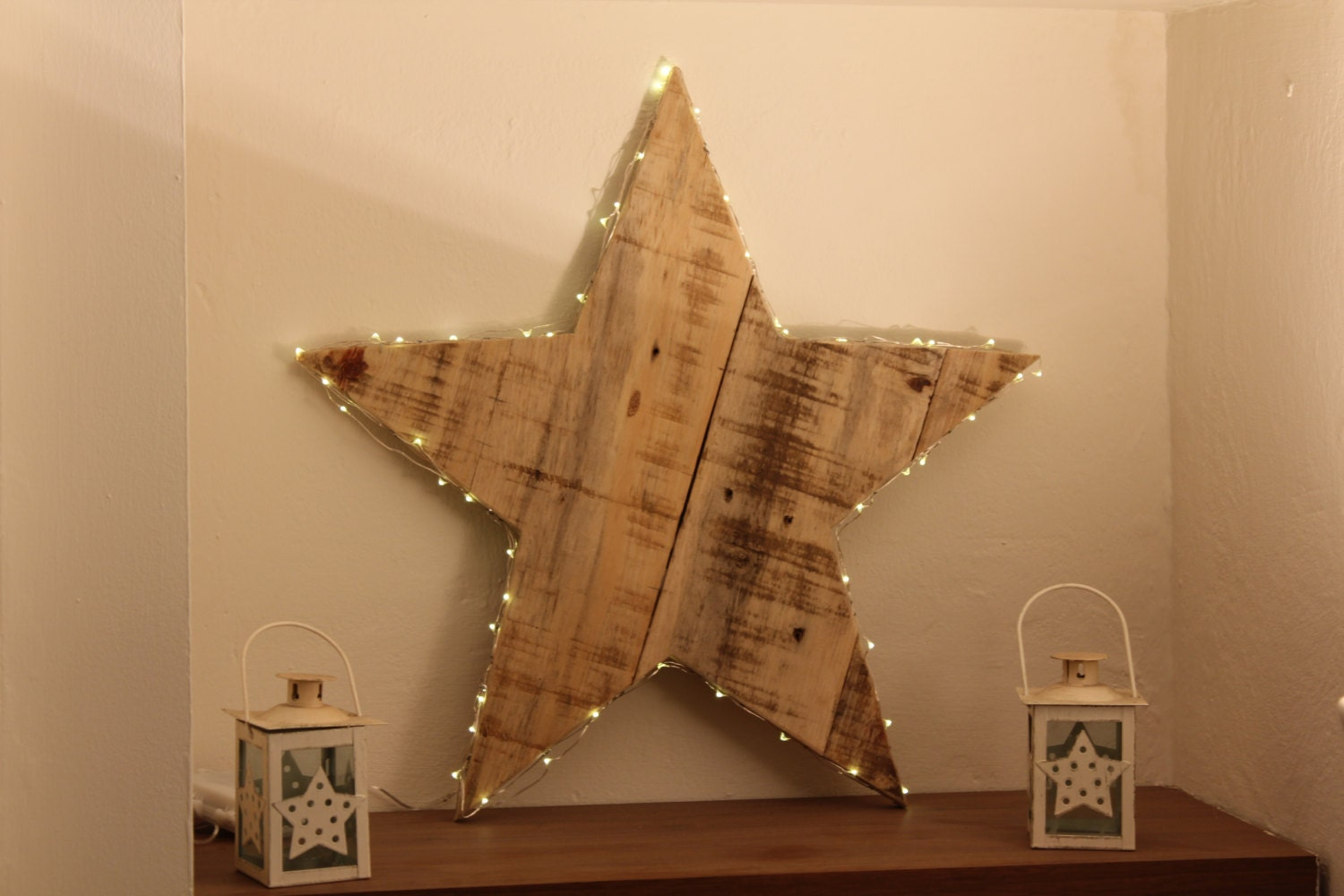 wooden star home decor wedding decor light christmas