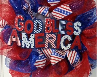 4th of July deco mesh wreath