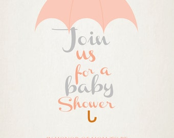 Printable-Invitation-Baby Shower-Parents to be-Mom to be- Custom-Grey-Girl-Boy-Blue-Gray-Coral-vintage feel-Umbrella-Raindrops-