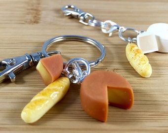 Polymer clay french bread and cheese wheel key chain