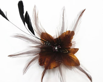 Feather with Fabric Flower Fascinator With Hair Clip and Brooch, Wedding Fascinator, Bridal Headpiece, Feather Hair Accessory