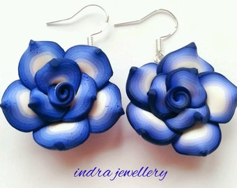 blue rose earrings, polymer clay rose earrings handmade rose dangle earrings flower earrings