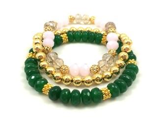 Emerald Bracelet Set -  Gold Beaded Bracelet - Handmade Beaded Bracelet - Set of 3 Bracelet for Women - Beaded Stretch Bracelet Set