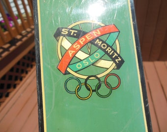 Unique Retro Vintage Green Persenico Chiavenna Squaw Valley 1960 Winter Olympic Skis - US Olympics Hickory Skis Lodge Decor