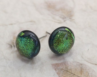 Dichroic Color Shifting Fused Glass Earring Post - Bright Copper Orange Reflects Green