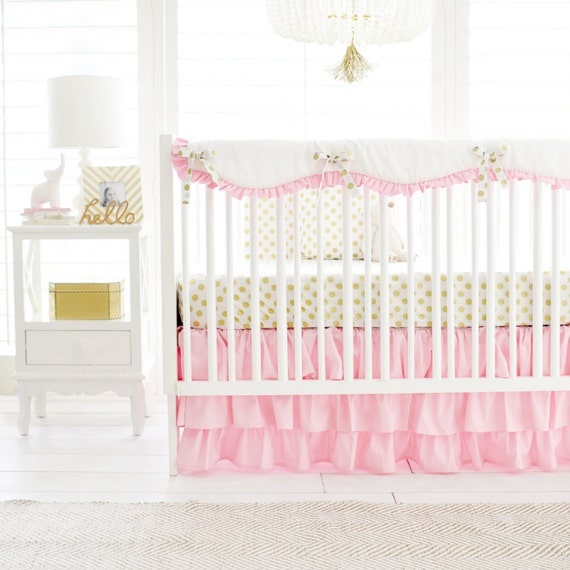Marion S Coral And Gold Polka Dot Nursery: Pink & Gold Polka Dot Crib Bedding For By ThreeWishesBeddingCo