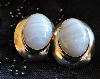 Blue Agate Stone Earrings Sterling Silver
