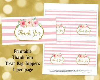 Printable Thank You Treat Bag Toppers Pink Stripes Watercolor Flowers Wedding Baby Shower Instant Digital Download Favor Bag Labels