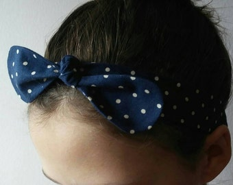 Polka dot bow headband, Headband, Womens headband, Girls headband, Bow headband.