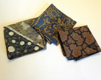 Pocket Squares - Set of Three, Various Sizes and Designs