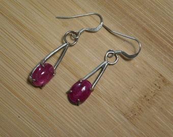 Handmade Sterling Silver Natural Ruby Earrings
