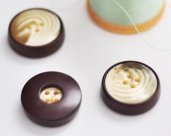 Brown and Ivory Swirl Buttons, Set of 3