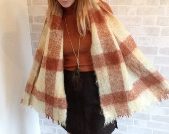 70's Mohair Large Checked Scarf