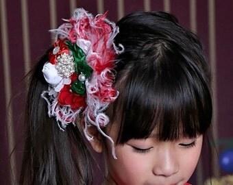 Christmas hair bow-premade christmas hair bow-vintage christmas headpiece-vintage christmas feather bow-red white green christmas hair bow