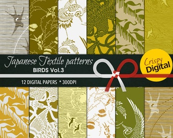 Japanese Pattern Birds Digital Papers Gold and Green 12pcs 300dpi Digital Download Bird Collage Sheets Scrapbooking Printable Paper