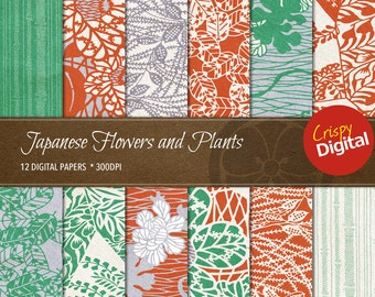 Japanese Flowers and Plants Collage Sheets Vol. 7 Digital Papers 12pcs 300dpi Digital Download Scrapbooking Printable Japanese Paper