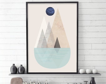 Scandinavian Print, Scandinavian Art, Mountain, Mountains, Nordic Print, Nordic Art, Minimalist Poster, Downloadable Prints, Printable Art