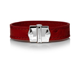 D'Monti D'Amour Red Mothers Day Gift Ideas - France Luxury Exotic Genuine Real Ostrich Leather Mens Womens Unisex Single Cuff Bracelet