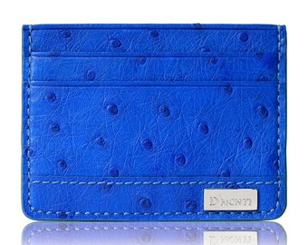 D'Monti Monaco Blue Black Friday Gift - France Luxury Genuine Real Ostrich Leather Mens Womens Unisex Credit Card Holder Wallet