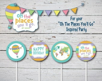 """Oh The Places You'll Go First Birthday Cupcake Toppers, 2"""" inch Party Circles Decorations. Baby First Birthday Party. Dr Seuss Inspired"""