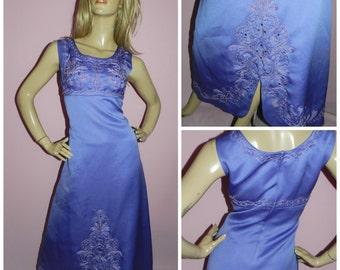 Vintage 70s PURPLE LILAC BEADED Slit maxi evening dress 12-14 M 1970s Goddess Party