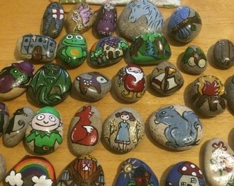 Hand Painted Story Stones to encourage imaginative and creative play as well as literacy skills and for fun! Great for Forest School & home