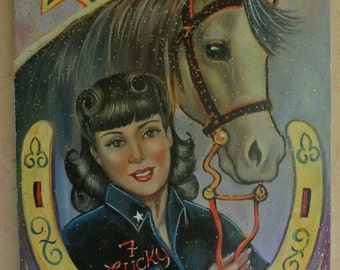 SALE//Vintage Lucky 7 Cowgirl Cowboy & Horse  Oil Painting on Canvas mixed media glitter