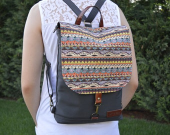Mini Women's Boho Backpack, Colorful Festival Rucksack, Student Canvas Backpack, Waterproof Crossbody Bag, Printed Laptop Backpack